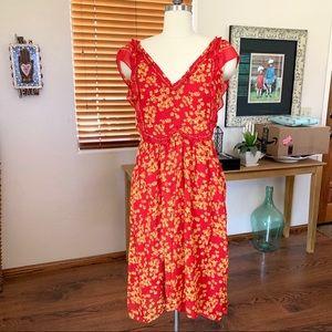 Max Studio red & yellow summer daisy print dress